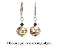 Murano Glass White Black Copper Swirl Ball Gold Earrings