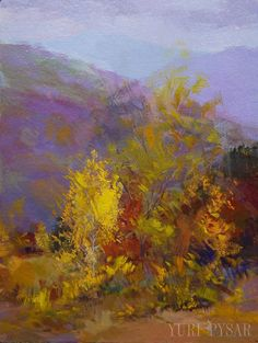 Small Landscape Painting - Yellow Lilac Canvas Art - Impressianist Art by Yuri Pysar