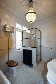 Crittall style shower screen made by Creative Glass Studio in London Small Attic Bathroom, Loft Bathroom, Upstairs Bathrooms, Bathroom Interior, Home Interior, Bathroom Plumbing, Victorian Bathroom, Victorian Shower Doors, Frameless Shower Enclosures