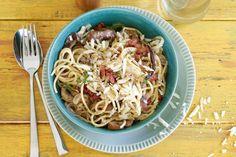 Spaghetti met paddenstoelen en spek - Recept - Allerhande
