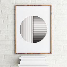 Geometric art print poster Striped Round / Printable Digital Art / Scandinavian art / Nordic Art / Wall Decor / digital print illustration