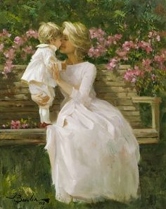 Butterfly Kisses by Joe Bowler American).brings back sweet memories! Butterfly Kisses, Butterflies, Mothers Love, Mother And Child, Beautiful Paintings, Love Art, Female Art, Art History, Vintage Art