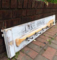 Lake House Hook Rack Sign Vintage Oar Coat Rack by CastawaysHall