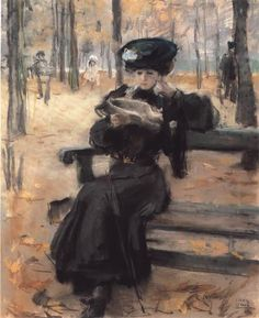 Vrouw in Jardin des Tuileries / Woman in the Tuileries ,1908 - Isaac Lazarus Israëls (Dutch, 1865-1934)