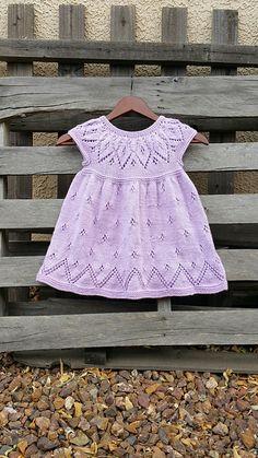 Ravelry: Bethany Dress pattern by Suzie Sparkles. Baby dress knitting pattern, girls dress knit pattern, top down knitting, seamless knitting, one piece.