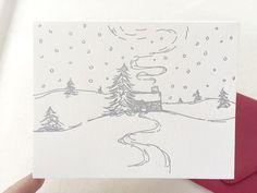 Letterpress Holiday Card  Single Card or Set by DinglewoodDesign