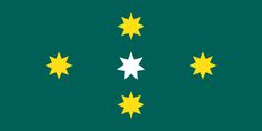 Australian Flag Proposal _ Southern stars_ (2016) Jeremy Matthews. Southern Cross star arrangement based on the Australian Federation and Eureka flags. White flag in centre in the 7 pointed Commonwealth (Federation) Star.