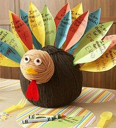 I made this turkey a few years back and we use it every year, always with new feathers of thanks.