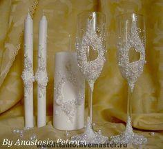 """Купить Свадебный набор """"Сердце на двоих"""" - свадьба, свадебные аксессуары, свадебные бокалы, свадебные свечи"""