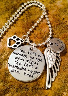Pet Loss Necklace Dog Cat Memorial Necklace by JillsArtsyCreations
