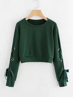 Eyelet Lace Up Sleeve Crop SweatshirtFor Women-romwe Eyelet Lace Up Sleeve Crop SweatshirtFor Women-romwe Girls Fashion Clothes, Teen Fashion Outfits, Girl Fashion, Girl Outfits, Crop Top Hoodie, Grunge Dress, Grunge Outfits, Mode Kawaii, Jugend Mode Outfits