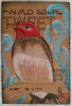 Old School Tweet 4x6 Cardboard Postcard by Melissa Fetalvero of ATC'S For All
