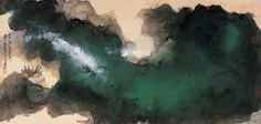 張大千 Ink Paintings, Painting Prints, Landscape Paintings, Chinese Brush, Chinese Art, Chinese Landscape, Sketch Painting, Chinese Painting, Peacocks