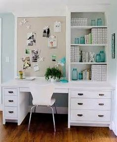White Built In Desk with Gray Linen Pin Board ...