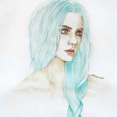 Soft green pastel hair. Illustration of a girl