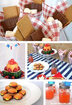 "Summer Fun Tablescape! mini hamburger cookies, fruit ""cake"", S'mores!"