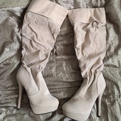 Beige knee length high heel boots Ami club wear beige boots . Worn a handful of times but in great condition.  heel height 4.5-5 inches , I also have in brown and black ( just ask ) Ami clubwear Shoes Heeled Boots