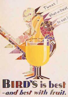 Vintage poster for Bird's custard Vintage Advertising Posters, Vintage Advertisements, Vintage Posters, Bird's Custard, Custard Powder, Vintage Birds, Vintage Food, Bird Poster, Old Magazines