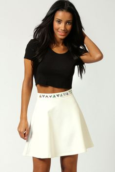 $40, Boohoo Kate Embellished Waist Scuba Skater Skirt. Sold by BooHoo. Click for more info: https://lookastic.com/women/shop_items/27867/redirect