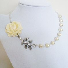 Flower Garden - Statement Necklace with Side  Rose Pendant - Wedding, Bridesmaid, Bridal Party, Ivory Flower Pearls Silver Leaf