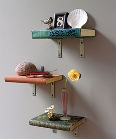Create Book Shelves, Literally Here's a clever new use for old books: Make your own shelves in three simple steps. From Spare Books to Beautiful Shelves. Put your books to work on your walls as shelves. Hang them in multiples to build a unique showcase for your lightweight whimsical collectibles.