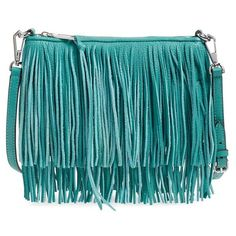 Rebecca Minkoff 'Finn' Convertible Leather Clutch ($117) ❤ liked on Polyvore featuring bags, handbags, clutches, leather fringe purse, leather fringe handbag, leather purse, blue leather handbag and rebecca minkoff purse