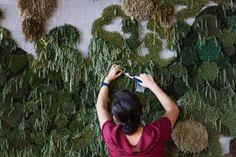 """Creativity from under the carpet. Meet and rug maker Alexandra Kehayoglou in her studio - link in bio. Church Stage Design, Moss Art, World Globes, Textiles, Green Carpet, Environmental Art, Whimsical Art, Fabric Art, Rug Making"