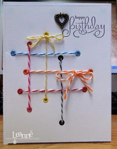 with eyelets and baker's twine.brianslan - Cards and Papers Crafts at Splitcoaststampers. Handmade Birthday Cards, Happy Birthday Cards, Diy Birthday, Birthday Greetings, Birthday Wishes, Birthday Ideas, Making Greeting Cards, Card Tags, Cool Cards