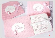 Pink Beautiful Invitations for Baptism or Babyshower for acute and delicate girl… Baptism Party, Girl Christening, Baby Christening, Handmade Invitations, Baby Shower Invitations, Wedding Invitations, Baby Shower Cards, Baby Cards, Ideas Bautizo