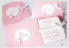 Pink baptism invites