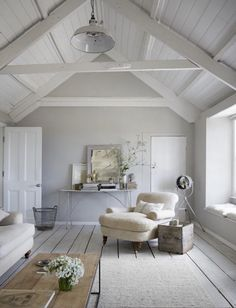 love this seaside coastal vintage loft living room with whitewashed floorbards, vaulted white ceiling and soft grey walls We love seaside interiors Source by. The post We love seaside interiors appeared first on Mack Makeovers. Coastal Bedrooms, Coastal Living Rooms, Living Room Decor, Living Area, Grey Walls Living Room, Cottage Living, Coastal Cottage, Small Living, White Living Rooms
