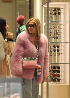 Chiara Ferragni in Pink Fur Coat Shopping in Milan