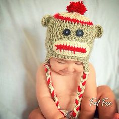 Crochet Sock Monkey Baby Hat Cap Christmas Present New Baby Photo Prop Shower Winter by FatFoxDesigns on Etsy https://www.etsy.com/listing/209332991/crochet-sock-monkey-baby-hat-cap