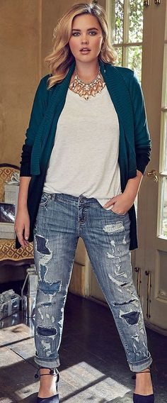 2017 Fashion trends! Your Curves, Your Style Dia&Co picks out fashion for you & delivers to your door. Sizes 14&up. Plus sized fashion picked just for you. #Dia&Co #Sponsored - cream tee, statement necklace, green / teal cardi, distressed denim & pumps