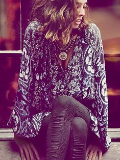 Sexy boho blouse, rouched leggings and a gorgeous statement piece. Free People August 2013 lookbook.