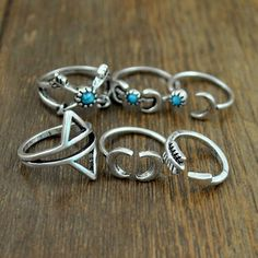 New Bohemia Vintage Punk Boho Rings For Women Beach Unique Carving Tibetan Silver Plated knuckle Joint Ring Set 6PCS/Set