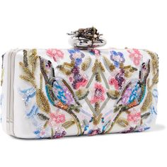 Alexander McQueen Heart embellished embroidered satin clutch (11.533.575 COP) ❤ liked on Polyvore featuring bags, handbags, clutches, structured purse, colorful clutches, embroidered handbags, white satin purse and satin clutches