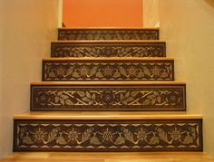 Faux wood inlay stair risers