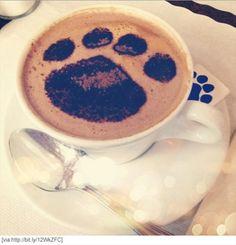 Coffee dog paw print art