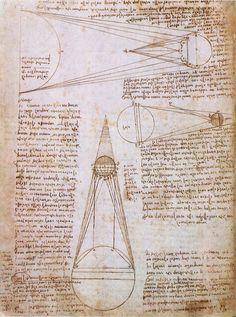 Pen and ink, and red chalk.                          Artist: Leonardo Da Vinci.