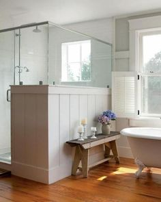 farmhouse bathroom | more modern farmhouse with a dark metal roof, I like the exposed ...