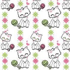 Preppy Kitty fabric by kiwicuties on Spoonflower - custom fabric