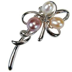 3 oval freshwater cultured pearl in a silver setting. Nice pin.