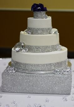 Glam wedding cake with tons of bling