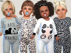 The Sims Resource: Onesie Collection and Little Bear Sweater Set by Pinkzombiecupcakes Toddler Cc Sims 4, Sims 4 Toddler Clothes, Sims 4 Cc Kids Clothing, Sims 4 Mods Clothes, Toddler Outfits, Kids Outfits, Sims 4 Outfits, Girl Toddler, Toddler Fashion