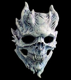 """""""Frost Warrior"""" custom paint by Troy Rosenbaum. This one of a kind variant of the Bone Warrior Demon Mask, sculpted originally in monster clay, and cast into a hard durable resin to be utilized as a long-term halloween mask, or simply a relic to add to your personal treasure hoard."""