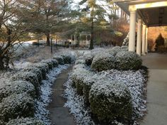 A light dusting of snow covers the grounds in front of the Historic Kirkwood House.