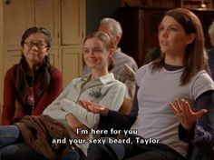 I'm here for you and your sexy beard, Taylor { Taylor Doose Lorelai Gilmore Girls Watch Gilmore Girls, Gilmore Girls Quotes, Best Tv Shows, Best Shows Ever, Favorite Tv Shows, Team Logan, Glimore Girls, Lorelai Gilmore, Sexy Beard