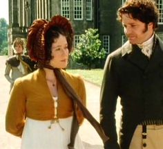 Sheer White Stripe gown with mustard colored Spencer (maybe linen or wool?).  Pride and Prejudice Costumes