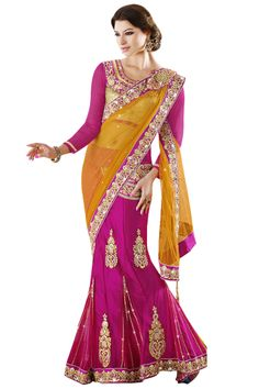 Blouse Fabric Velvet Colour Orange, Pink Fabric Georgette, Net Fabric Care Dry Clean Only Occasion Festival, Wedding, Party Shipping time 7 days Work Embroidered Orange Lehenga, Sarees Online India, Embroidery Saree, Velvet Color, Lahenga, Lehenga Saree, Latest Sarees, Pink Fabric, Saree Collection